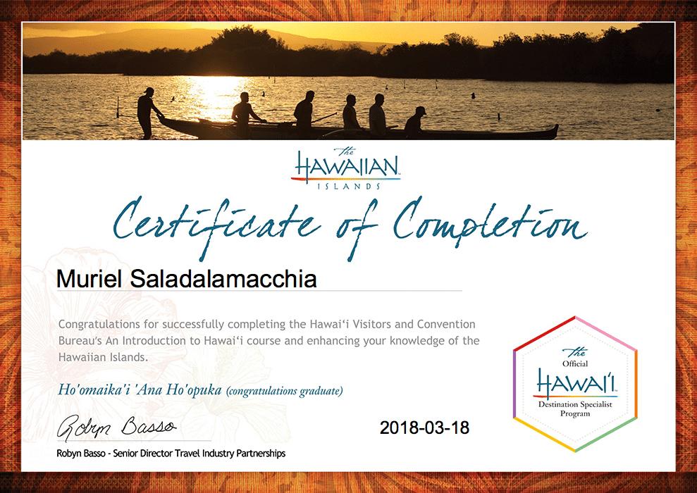 Hawaii Muriel's Certification