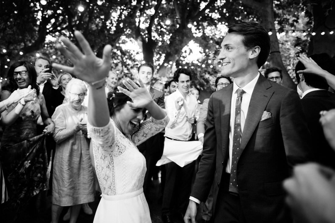 Bride on the dance floor Outdoor wedding ceremony in Les Baux de Provence for a destination wedding planned by Muriel Saldalamacchia Photo by Cecile Creiche