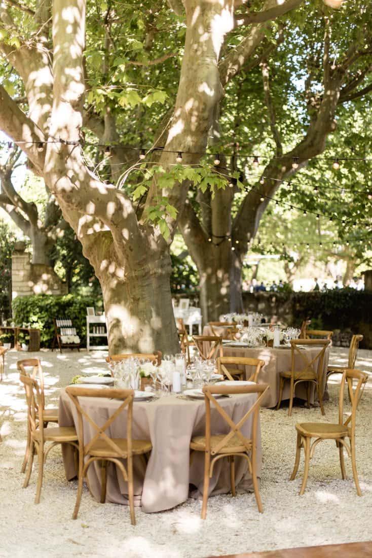 Reception area for a wedding in Les Baux de Provence for a destination wedding planned by Muriel Saldalamacchia Photo by Cecile Creiche