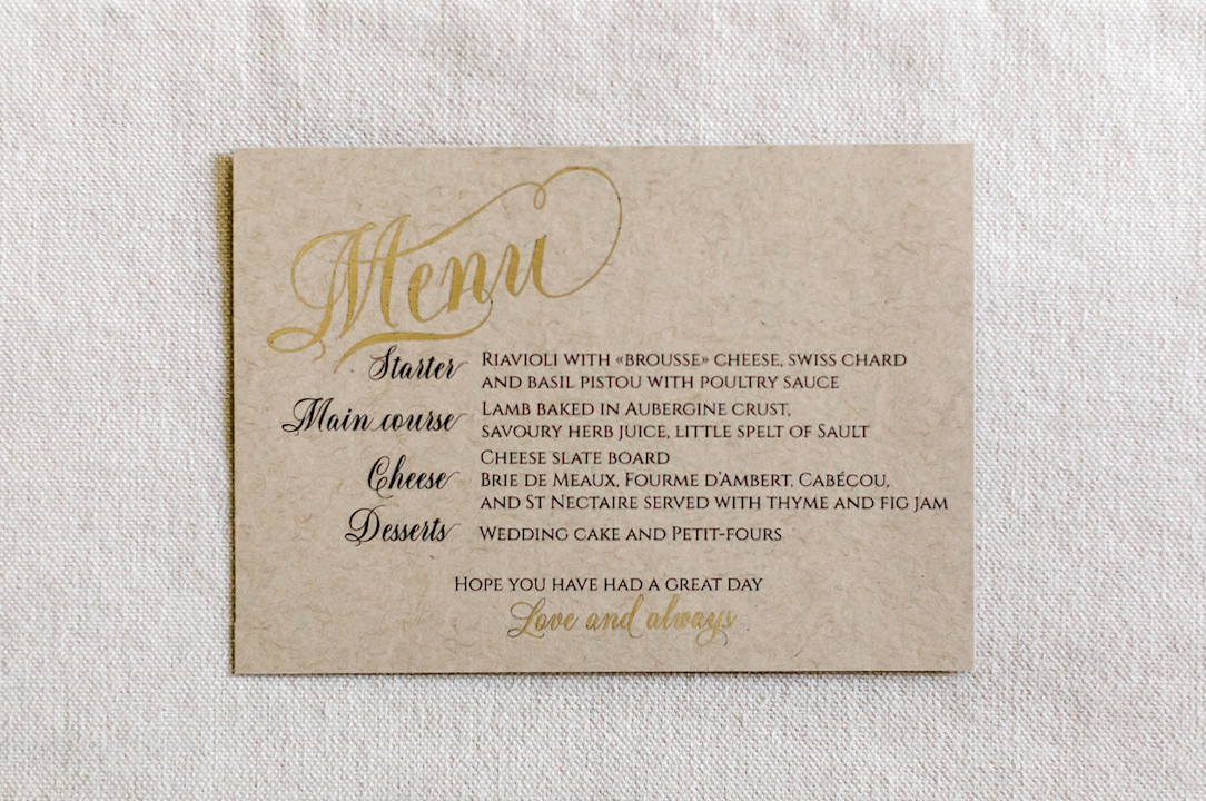destination wedding in provence menu stationery) by Muriel Saldalamacchia wedding planner Photo by Remi Dupac