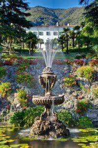 Destination wedding to Lake Como Front View with Fountain,