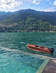 destination wedding italy lakce como riva boat